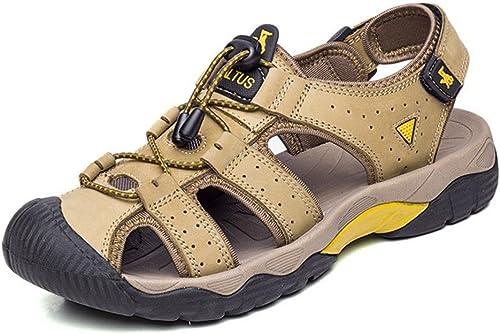 FFTX pour des Hommes Cuir des Sandales Antidérapant Durable Glisser sur été De Plein air en Marchant Patauger Chaussures Noir