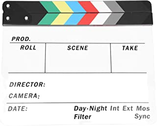 Semoic Generic Acrylic Colorful Clapperboard TV Film Movie Slate Cut Role Play Prop Hollywood