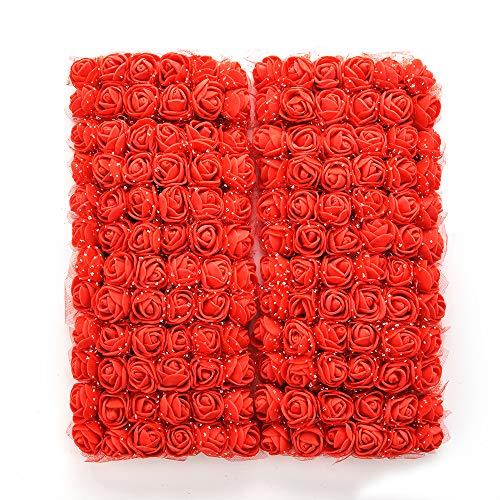 NWSX Gefälschte Rose Blume köpfe 144 stücke Seide künstliche Blumen Rosen DIY Hochzeit Blumen zubehör Machen Braut haarspangen stirnbänder Kleid (red)