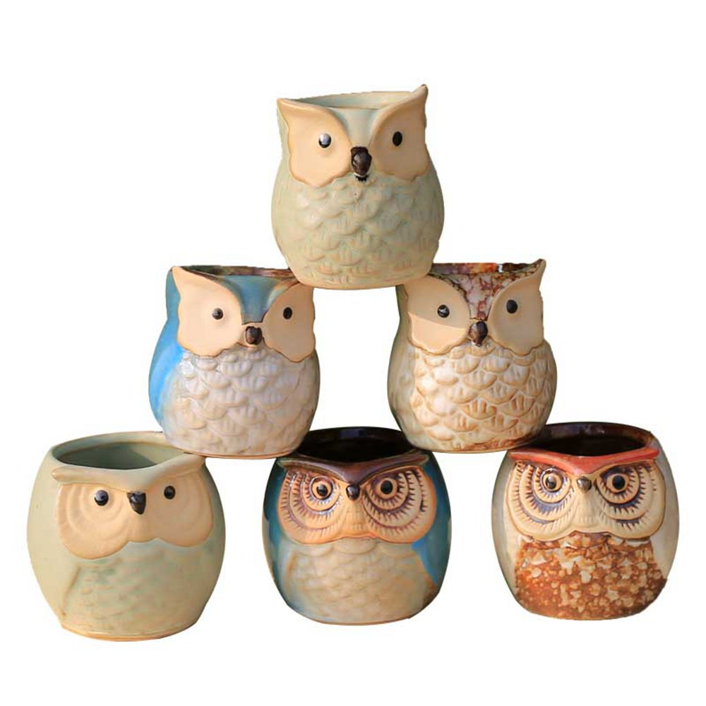 LUCKEGO 6 In Set 2.5 Inch Owl Pot Ceramic