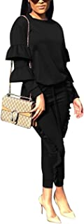 KANSOON Women 2 Pieces Outfits Puff Sleeve Top and Long Flounced Pants Sweatsuits Set Tracksuits