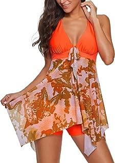 ABCOnline Tankini Swimsuits for Women Two Piece Print Swimdress with Boyshort Plus Size Swimwear Bathing Suits