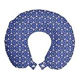 ABAKUHAUS Türkisch-Muster Reisekissen Nackenstütze, Blauer Mosaik, Schaumstoff Reiseartikel für Flugzeug und Auto, 30x30 cm, Royal Blue Pale Blue