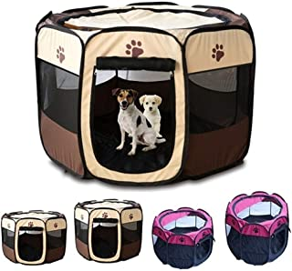 Portable Pet Playpen, Foldable Dog Playpens, Indoor/Outdoor Pet Exercise Kennel Tent Mesh Shade Cover Travel Dog Play Tent...