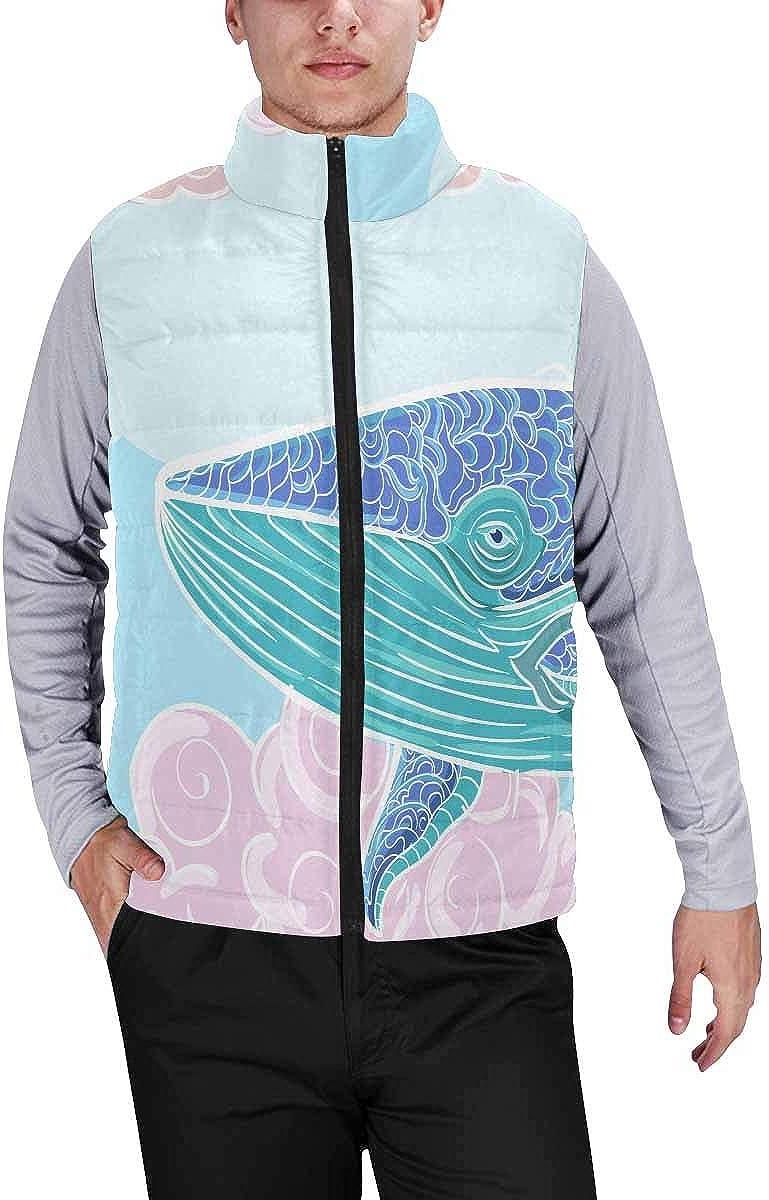 InterestPrint Men's Winter Full-Zip Outwear Padded Vest Coats Ocean Wave