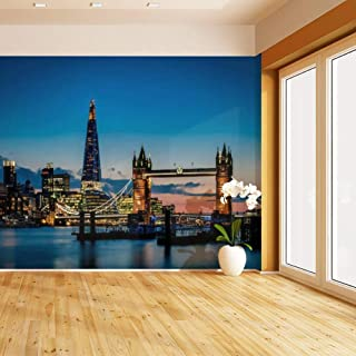 HIMURAL Tower Bridge and The Sky London Skyline at Night Self Adhesive Peel and Stick Wallpaper Self Stick Mural Photos Home Wall Paper Sticker Wall Mural Decals Fresco Posters Removable