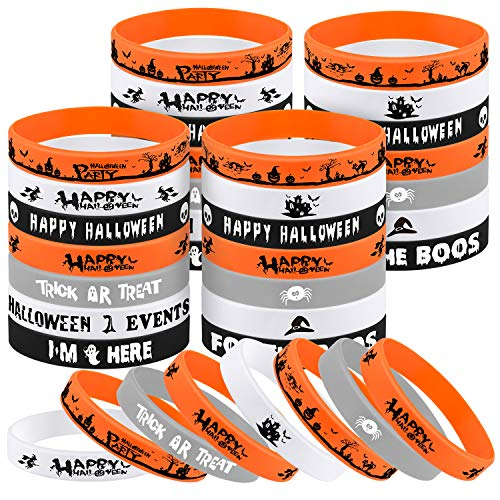 FEPITO 49 Pcs Halloween Rubber Wristbands 7 Classic Silicone Bracelets for Halloween Party Supplies