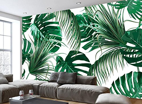 Yosot 3d Moda Moderna Personalidad Simple Papel pintado Vegetal Rainforest Frescas Hojas De Plátano Murales Pastoral Telón De Fondo Papel pintado-350Cmx245Cm