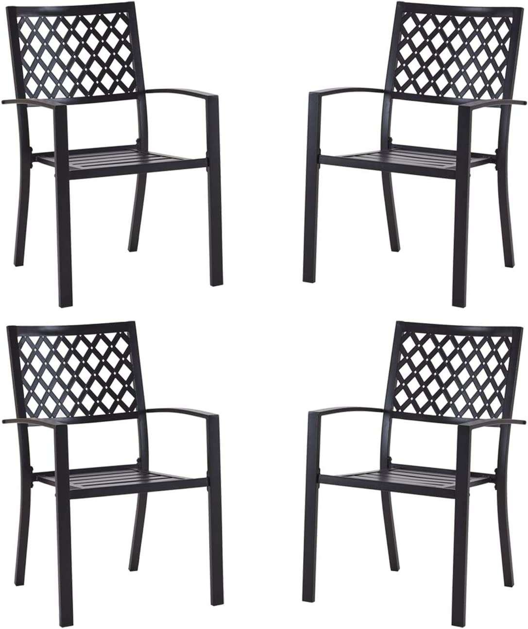 Long-awaited Patio Dining Chairs 40% OFF Cheap Sale Set of 4 Stackable Outdoor Chai Metal Bistro