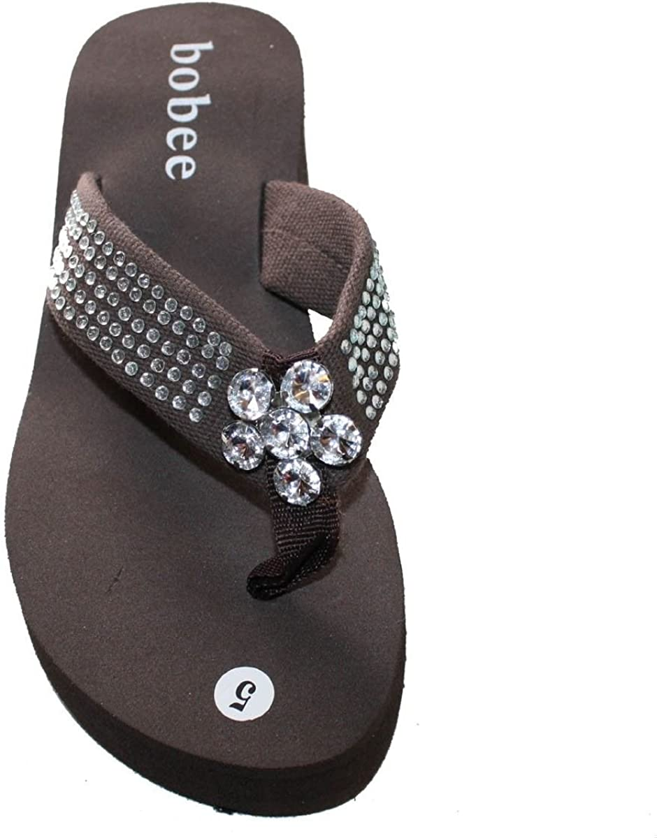 Dona Michi Leather Womens Sandal Platforms Wedges Studded Strap with Big Stone Style Thongs
