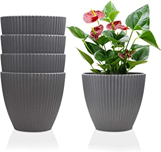6 Inch Plastic Planters Indoor Set of 5 Flower Plant Pots Modern Decorative Gardening Pot with Drainage for All House Plants, Flowers, Herbs, African Violets, Foliage Plants, Dark Gray