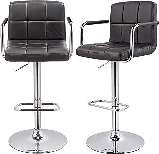 Bar Stool Kitchen Bar stools with Backrest & Armrest Set of 2 Duhome WY-451K Bar Chair (Black)