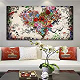 BailongXiao Cuadro En Lienzo Colorido corazón Flor Fotos Carteles y decoración del hogar para Sala de estar84x168cmPintura sin Marco