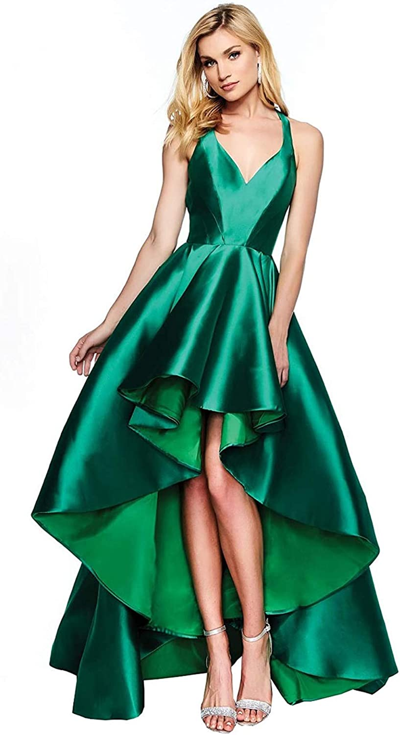 Houganhe Satin Free Shipping Cheap Bargain Gift Backless High Low Selling rankings Prom Nec V Dresses with Pockets