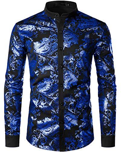 JOGAL Herren Henley Shirt Metallic Gold Paisley Hemd X-Large A357 Blau