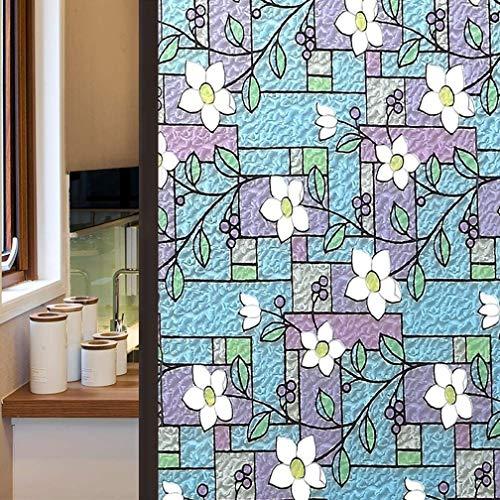 LMKJ Película autoadhesiva de Ventana privada con Estampado de Flores de Color, Pegatina de Ventana Anti-Ultravioleta no Adhesiva, película de Ventana Familiar A76 60x200cm