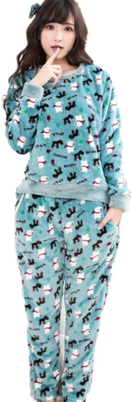 DMMSS Flannel Bathrobe Lady Thickening Cartoon Cute Home Service Pajamas Set