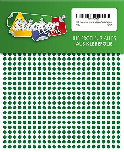 1440 Klebepunkte, 5 mm, grün, aus PVC Folie, wetterfest, Markierungspunkte Kreise Punkte Aufkleber