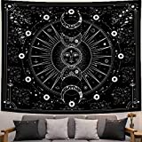 UPAiLGKK Tapestry Sun Moon Wall Hanging Stars Space Psychedelic Black and White Wall Tapestry for Bedroom Aesthetic Home Wall Décor (59.1x78.7 Inches, 150x200 cm)