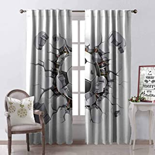 GloriaJohnson Sports Decor Heat Insulation Curtain Soccer Ball and Old Plaster Wall Damage Destruction Punching Illustration for Living Room or Bedroom W52 x L63 Inch