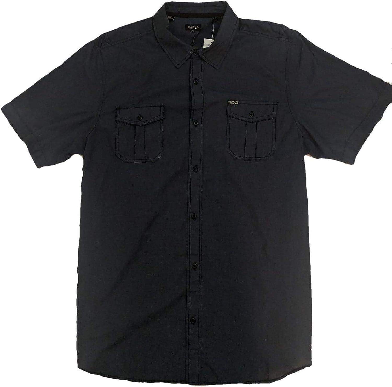 Buffalo David Bitton Mens SS Button Down Shirt (Navy Textured, XL)