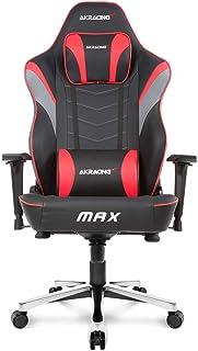 AKRacing Masters Series MAX Silla de Juegos con Asiento Plano Ancho, límite de Peso de 181,4 kg, mecanismos de Ajuste de A...