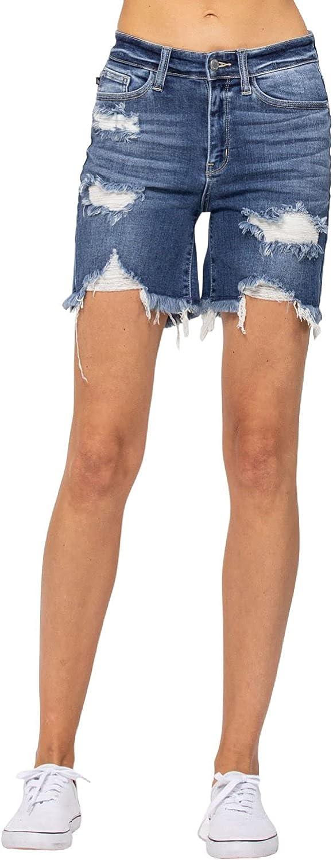 Judy Blue Medium Wash Destroyed 贈答 舗 High Waist These Shorts Bermuda