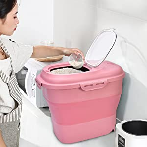 Panghuhu88 Foldable Rice Storage Container, 55 Lbs Large Pet Food Storage Container with Measuring Cup, Airtight Collapsible Dry Food Containers BPA-FREE (Pink)