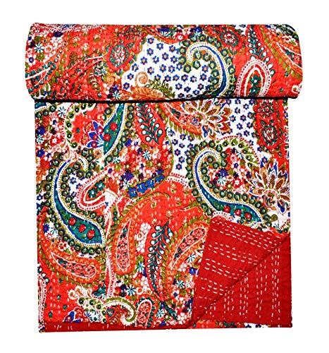 GANESHAM Ropa de cama india para decoración del hogar, manta de estilo vintage, hecha a mano, tamaño Kantha, tamaño king, lujoso, estampado paisajístico, colcha bohemia (90 x 108) pulgadas