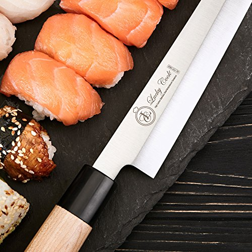 Sashimi Sushi Knife 10 Inch - Perfect Knife For Cutting Sushi & Sashimi, Fish Filleting & Slicing - Very Sharp Stainless Steel Blade & Traditional Wooden Handle + Gift Box