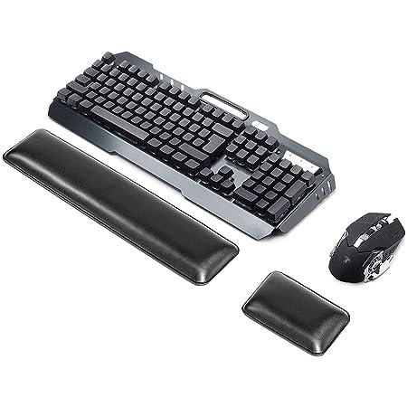 Almohadilla de apoyo para teclado de piel sintética de la marca ASEOK con almohadilla ergonómica para la muñeca con espuma de gel de memoria para ...