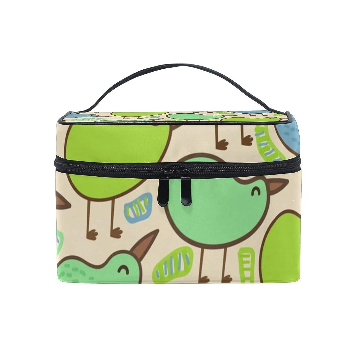 自発的放射能きらきらメイクボックス キウイ 鳥柄 化粧ポーチ 化粧品 化粧道具 小物入れ メイクブラシバッグ 大容量 旅行用 収納ケース