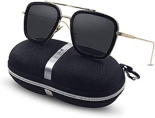 Vintage Aviator Square Sunglasses for Men Women Gold Frame Retro Brand Designer Classic Tony Stark Spider Man Sunglasses