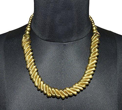 Tono de oro collar de gargantilla con cuentas ajustable trenzado tallado juego de joyas de moda de las mujeres indias de estilo Hippie