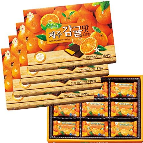 韓国 土産 済州島 みかん風味チョコレート 4箱セット (海外旅行 韓国 お土産)
