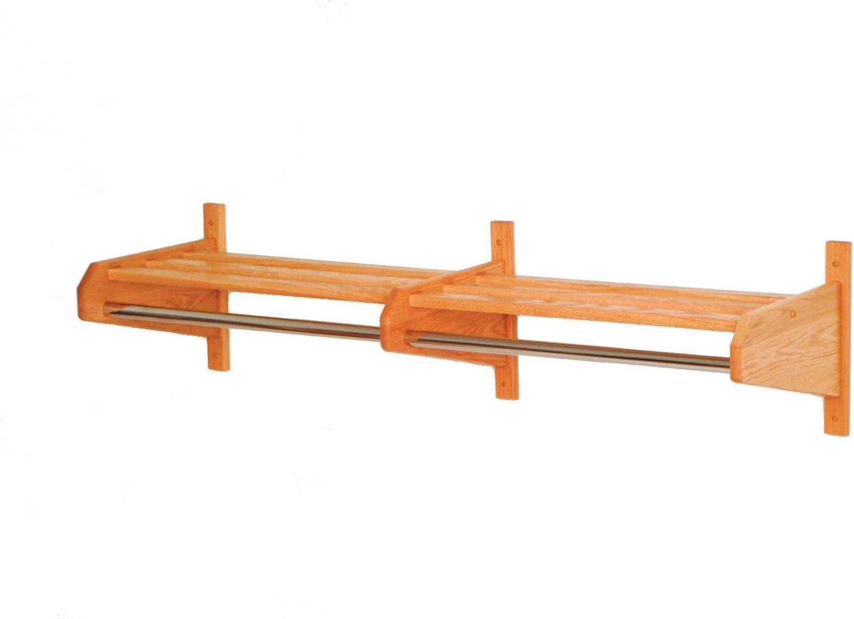 Wooden Mallet 74  Coat & Hat Rack, Uses Small Hook Hangers, Light Oak