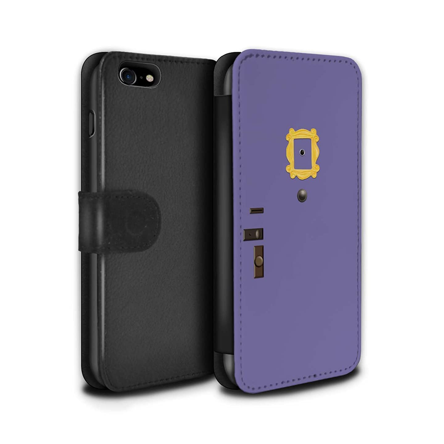 STUFF4 PU Leather Wallet Flip Case/Cover for Apple iPhone 7 / Monica's Purple Door Design/Funny Sitcom TV Parody Collection