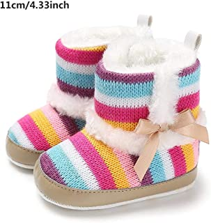 Winter Toddler Snow Boots for Baby Girls Winter Warm Rainbow Soft Sole Anti-Slip Sole Warm Snow Boots