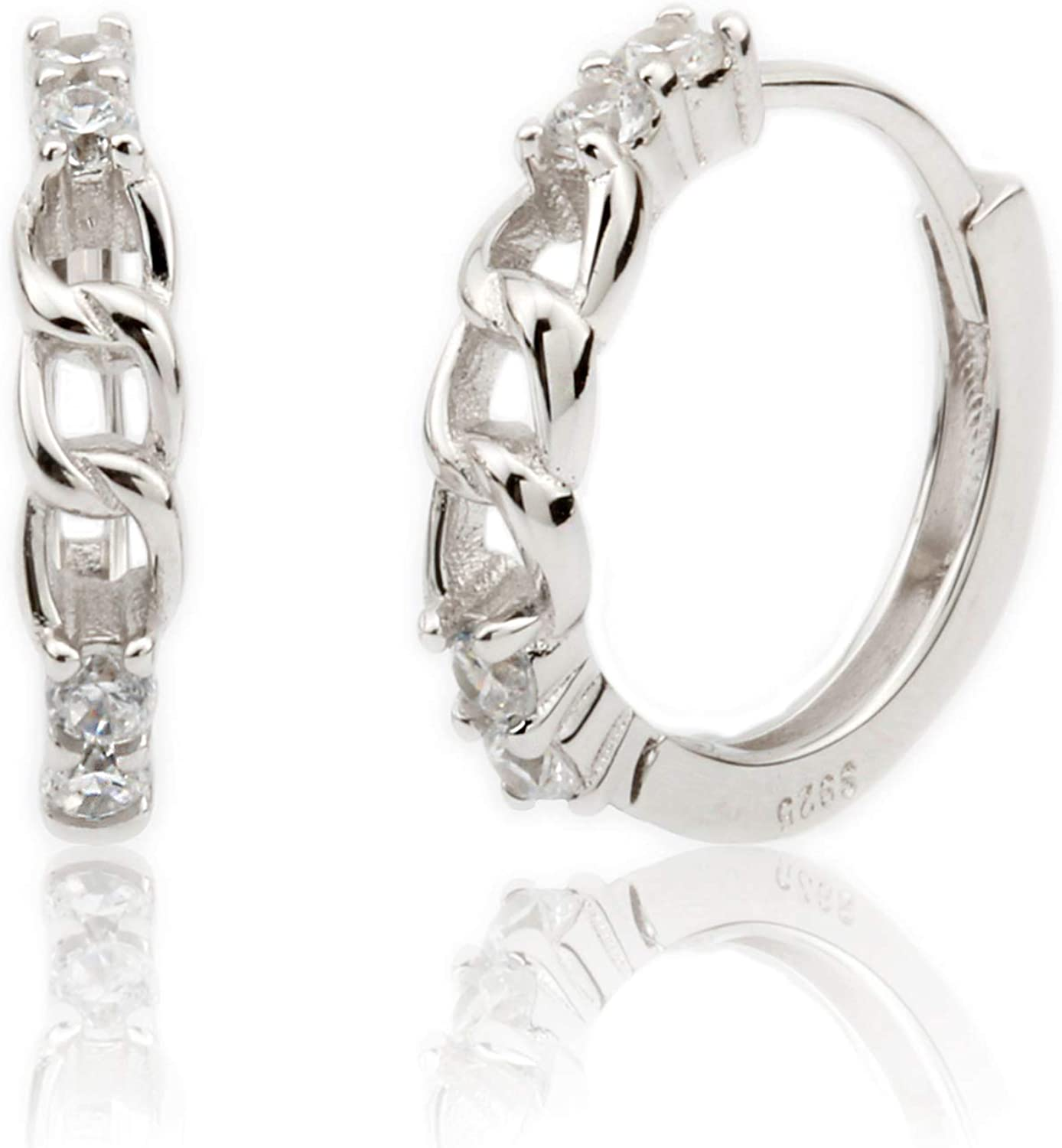 Kakikaki Rhodium Plated Sterling Silver Twisted Recommended Hoop Link Ranking TOP6 Chain