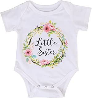 MA&BABY Newborn Baby Girls Romper Tops White Shirt Sisters Outfits Clothes Set