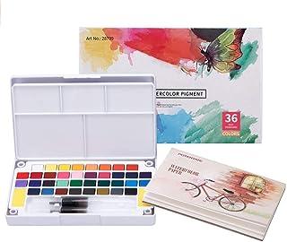 Juego de acuarelas profesionales 36 colores, incluye 36 colores de acuarela, 12 papeles de acuarela, 2 pinceles de tanque ...
