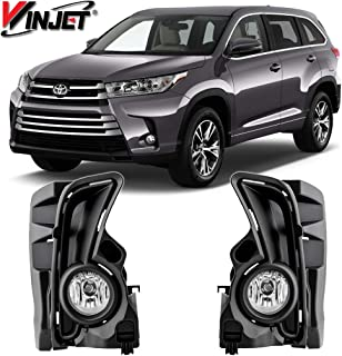 Winjet WJ30-0567-09 OEM Series for [2017-2019 2017 2018 Toyota Highlander Clear Lens RH LH Factory Style Replacement Fog Light Kit with Bezel Trim Wiring Harness Switch Set Pair
