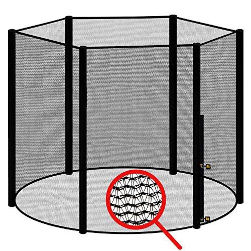 AWM Trampolin Sicherheitsnetz für 6 Stangen - System Fangnetz Netz außenliegend Trampolinnetz Ersatznetz schwarz 456cm - 460cm