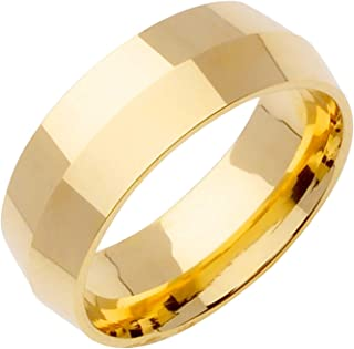 14K Yellow Gold Traditional Knife Edge Men's Comfort Fit Wedding Band (8mm)