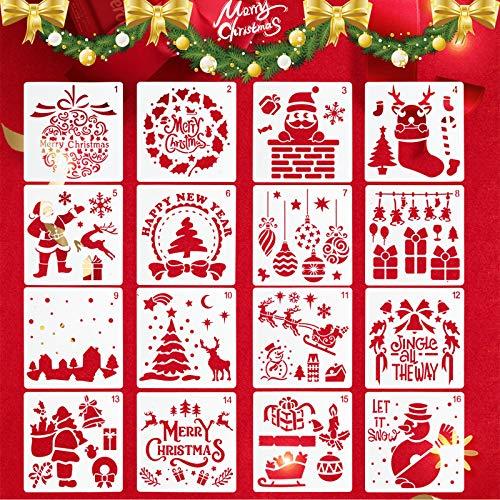 Kunststoff Weihnachts Schablonen Set DIY Zeichnung Malschablonen Weihnachtsmann Weihnachtsbaum Schneemann Schneeflocken Glocken Rentier Weihnachtsdekoration Schablone für Weihnachtskarten (16pcs)