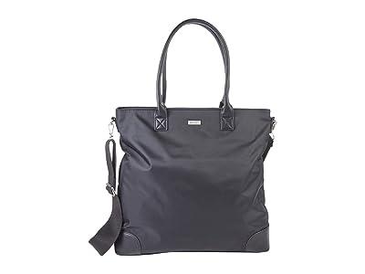 San Diego Hat Company Nylon Tote w/ PU Leather Handles, Zip Closure Removable Strap (Black) Handbags