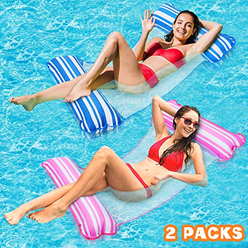 2 Pack Water Hammock, 4-in-1 Multi-Purpose Hammock Inflatable Pool Float Comfortable Inflatable Hammock Float Fun Backyard Swimming Pool Hammock for Adults and Kids Use As Saddle,Chair,Hammock,Drifter