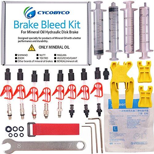 Cycobyco Bremsen-Entlüftungsset für Mineralöl-Bremsen / hydraulische Scheiben-Fahrradbremsen, für Shimano / Magura / Tektro / Zoom / CSC / Echo / Giant / HS33 / Nutt, Genaral kit