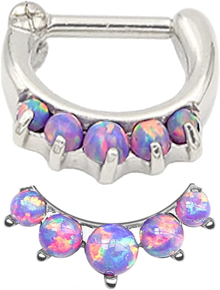 Super Pretty!! Lavender lt Purple Synthetic fire Opal Septum Clicker Nose Ring Hoop Stainless Surgical Steel Jewelry Piercing 16g