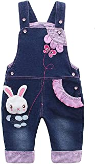 KIDSCOOL SPACE Baby Girl Jean Overalls,Toddler Denim Cute 3D Bunny Outfit